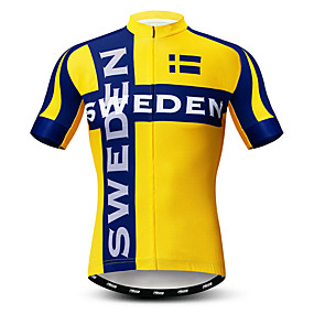 cheap Cycling & Motorcycling-21Grams Men's Short Sleeve Cycling Jersey Summer Elastane Lycra Polyester Yellow Sweden National Flag Bike Jersey Top Mountain Bike MTB Road Bike Cycling Quick Dry Moisture Wicking Breathable Sports