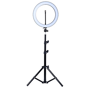 abordables Éclairage d'Intérieur-Photo LED Selfie Ring Fill Light 10inch Dimmable Camera Phone 26cm Ring Lamp with Stand Tripod for Makeup Video Live Studio