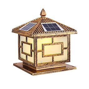 preiswerte Bahn Lichter-Solarsäulenkopflampe führte doppelte Farbfernsteuerungs25cm Dorfstraßenlaterne Gartenlandhausgatter-Säulenlampe Innenhofwandlampe im Freien