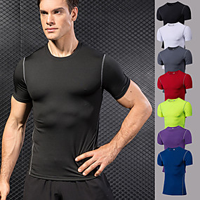 cheap Yoga & Fitness-YUERLIAN Men's Compression Shirt Violet White Black Red Blue Fitness Gym Workout Running Tee Tshirt Base Layer Short Sleeve Sport Activewear Breathable Quick Dry Moisture Wicking Power Flex High