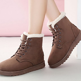 baratos Sapatos Femininos-Mulheres Botas Sem Salto Ponta Redonda Camurça Botas Curtas / Ankle Inverno Preto / Marron / Bege