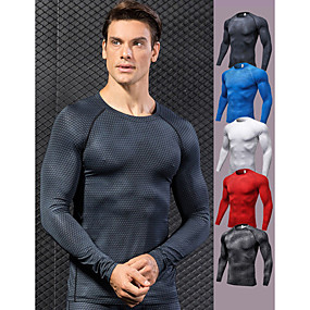 cheap Men-YUERLIAN Men's Compression Shirt Optical Illusion White Black Red Blue Grey Spandex Fitness Gym Workout Running Tee Tshirt Base Layer Plus Size Long Sleeve Sport Activewear Breathable Quick Dry