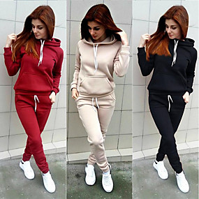 cheap Running & Jogging-Women's 2 Piece Tracksuit Sweatsuit Street Casual Long Sleeve Windproof Breathable Soft Fitness Running Jogging Sportswear Solid Colored Hoodie Track pants Black Red Pink Khaki Gray Activewear