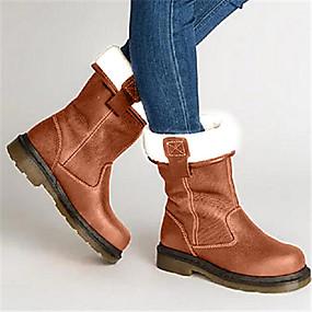 preiswerte Komfort-Schuhe-Damen Stiefel Flacher Absatz Runde Zehe PU Mittelhohe Stiefel Herbst Winter Braun
