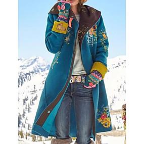 preiswerte Damenbekleidung-Damen Alltag Grundlegend Winter Lang Mantel, Pflanzen Umlegekragen Langarm Polyester Wein / Braun / Grün