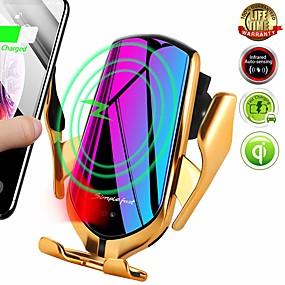 billige Trådløse ladere-r1 10w trådløs lader automatisk klemme telefon holder for iphone samsung huawei lg infrarød induksjon qi lader holder gps