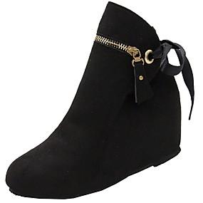 baratos Sapatos Femininos-Mulheres Botas Salto Plataforma Ponta Redonda Camurça Botas Curtas / Ankle Inverno Preto / Verde / Vermelho