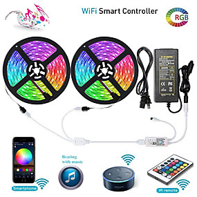 cheap Light Strips & Strings-ZDM WIFI Smart LED Strip Lights Kit 2 X 5M 5050 RGB Tape Light Work with Alexa Google Home WiFi Wireless Smart Phone Controlled LED Set 32.8ft 300 LEDs Rope Light Waterproof & 12V 6A Power Supply