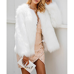 cheap Women's Outerwear-Women's Going out Regular Fur Coat, Solid Colored V Neck Long Sleeve Faux Fur Black / White / Pink