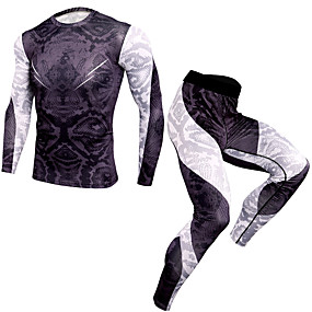 cheap Running, Jogging & Walking-Men's Tracksuit 1 set Running Fitness Sportswear Camo Breathable Quick Dry Compression Shirt and Pants Long Sleeve Activewear High Elasticity Regular Fit / Stripes