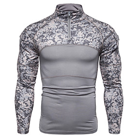 cheap Running & Jogging-Men's Long Sleeve Running Shirt Patchwork Quarter Zip Tee Tshirt Top Cotton Thermal Warm Breathable Soft Fitness Gym Workout Running Jogging Sportswear Camo / Camouflage Black Army Green Gray
