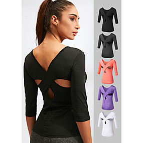 cheap Yoga & Fitness-Women's Yoga Top Cut Out Fashion White Black Purple Grey Orange Spandex Fitness Gym Workout Running Tee Tshirt 3/4 Length Sleeve Sport Activewear 4 Way Stretch Quick Dry Moisture Wicking Comfortable