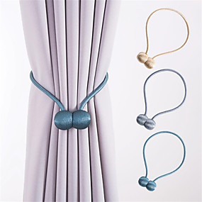 cheap Curtains & Drapes-Creative cowstring bead magnet fastener magnetic fastener binding rope simple curtain magnetic fastener binding 2 pieces