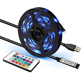 cheap Remote Control-1set LED Strip RGB Waterproof USB 5V 24 keys Remote Ribbon Led Stripe RGB TV Backlight 1M 2M 3M 4M 5M Flexible Led Strip Lights