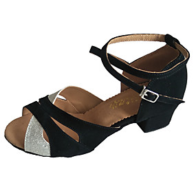 preiswerte Tanzschuhe-Damen Tanzschuhe Wildleder Schuhe für den lateinamerikanischen Tanz Glitter Absätze Starke Ferse Maßfertigung Schwarz und Silbern