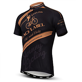 cheap Cycling & Motorcycling-21Grams Men's Short Sleeve Cycling Jersey Brown Bike Jersey Top Mountain Bike MTB Road Bike Cycling Breathable Moisture Wicking Quick Dry Sports Polyester Elastane Terylene Clothing Apparel / Lycra
