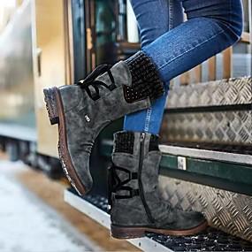 baratos Sapatos Confortáveis-Mulheres Botas Sapatos Confortáveis Sem Salto Ponta Redonda Couro Ecológico Botas Cano Médio Outono & inverno Roxo / Azul / Cinzento
