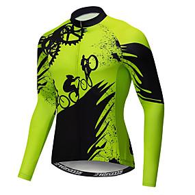cheap Cycling & Motorcycling-21Grams Novelty Gear Men's Long Sleeve Cycling Jersey - Green Bike Jersey Top UV Resistant Quick Dry Moisture Wicking Sports Winter Elastane Terylene Polyester Taffeta Mountain Bike MTB Road Bike
