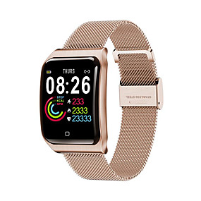 billige Nyheter-f9 rustfritt stål smartwatch bluetooth fitness tracker støtte hjertefrekvens / blodtrykksmåling sport smart klokke for apple / samsung / android telefoner