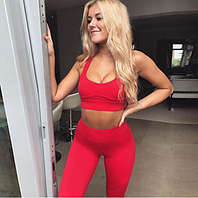 cheap Women's Activewear-Women's 2 Piece Activewear Set Workout Outfits Yoga Suit Athletic 2pcs Sleeveless High Waist Nylon Moisture Wicking Quick Dry Breathable Fitness Gym Workout Running Jogging Sportswear Skinny Solid