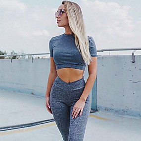 cheap Women's Activewear-Women's 2pcs Tracksuit Yoga Suit Ruched Butt Lifting Solid Color Gray Yoga Fitness Gym Workout High Waist Tights Bra Top Sleeveless Sport Activewear Tummy Control Butt Lift Moisture Wicking Breathable