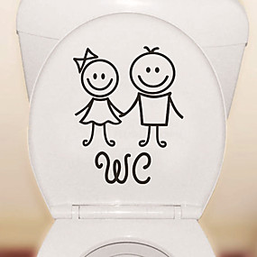 cheap Valentine's Day-Cartoon Cute Toilet Stickers - People Wall Stickers Shapes Bathroom