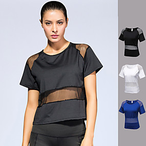 cheap Yoga & Fitness-Women's Running Shirt Patchwork Fashion White Black Blue Mesh Spandex Fitness Gym Workout Running Tee Tshirt Short Sleeve Sport Activewear Quick Dry Lightweight Breathable Comfortable High Elasticity