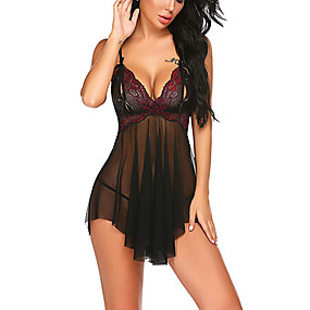 cheap Suits-Women's Lace Bow Mesh Babydoll & Slips Suits Nightwear Jacquard Embroidered Purple / Wine / Green S M L