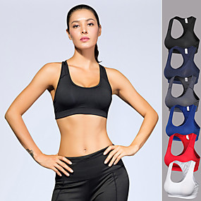 cheap Yoga & Fitness-Women's Sports Bra Racerback Removable Pad Fashion White Black Red Blue Dark Blue Mesh Spandex Fitness Gym Workout Running Bra Top Sport Activewear High Impact Moisture Wicking Quick Dry Breathable
