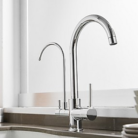 cheap Purified Water Faucets-Kitchen faucet - Single Handle One Hole Electroplated Tall / High Arc / Purified water Centerset Contemporary Kitchen Taps