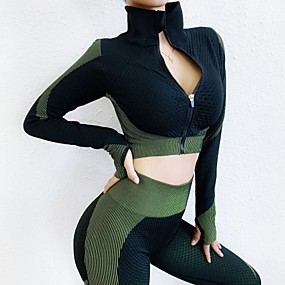 cheap Women's Activewear-Women's 2 Pieces Tracksuit Yoga Suit Summer Seamless Thumbhole Patchwork Pink Green Nylon Yoga Fitness Gym Workout High Waist Tights Crop Top Clothing Suit Long Sleeve Sport Activewear Tummy Control