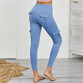 cheap Running & Jogging-Women's High Waist Running Tights Leggings Compression Pants Athleisure Tights Leggings Pocket Winter Fitness Gym Workout Performance Running Training Tummy Control Butt Lift Breathable Sport Solid