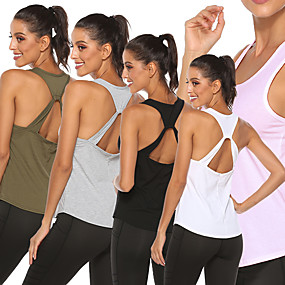cheap Yoga & Fitness-Women's Yoga Top Fashion White Black Army Green Pink Gray Cotton Fitness Gym Workout Running Vest / Gilet Sleeveless Sport Activewear Quick Dry Lightweight Comfortable Stretchy