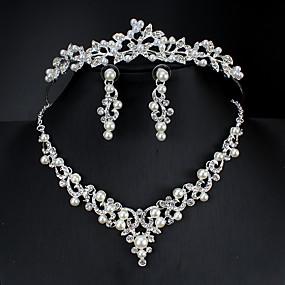 olcso Esküvői és party ékszerek-Női Fehér Francia kapcsos fülbevalók Nyaklánc medálok Nyaklánc Klasszikus Alap Koreai Édes aranyos stílus Strassz Hamis gyémánt Fülbevaló Ékszerek Ezüst Kompatibilitás Esküvő Parti Eljegyzés 3