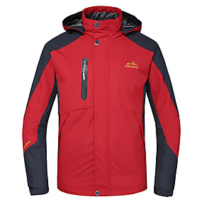 cheap Under €39-Deshengren® Men's Hiking Jacket Hiking 3-in-1 Jackets Outdoor Winter Waterproof Thermal / Warm Windproof Breathable Winter Jacket Top Skiing Camping / Hiking Hunting Red / Green / Blue Camping