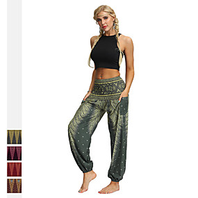 cheap Exercise, Fitness & Yoga-Women's High Waist Yoga Pants Harem Smocked Waist Bloomers Breathable Quick Dry Light Brown Dark Purple Dark Red Gym Workout Dance Fitness Sports Activewear Stretchy Loose