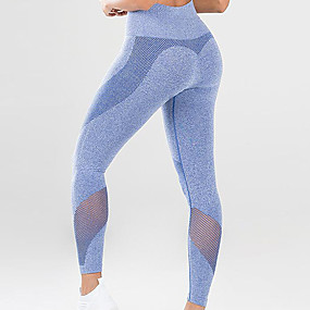 cheap Women's Activewear-Women's High Waist Running Tights Leggings Sports Tights Leggings Mesh Patchwork Mesh Winter Fitness Gym Workout Running Jogging Tummy Control Butt Lift Moisture Wicking Sport Solid Color Blue Pink