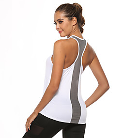 cheap Yoga & Fitness-Women's Yoga Top Patchwork Fashion White Black Burgundy Mesh Yoga Fitness Gym Workout Vest / Gilet Sleeveless Sport Activewear Quick Dry Lightweight Comfortable Stretchy Loose