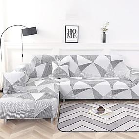 preiswerte Schonbezüge-geometrische Streifen drucken staubdichte Stretch-Schonbezüge Stretch-Sofabezug super weicher Stoff Couchbezug (Sie erhalten 1 Wurfkissenbezug als Geschenk)