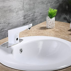 cheap Induction Faucets-Bathroom Sink Faucet - Touch / Touchless Electroplated Free Standing Single Handle One HoleBath Taps