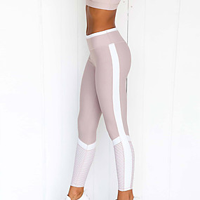 cheap Yoga & Fitness-Women's High Waist Yoga Pants Cropped Leggings Tummy Control Butt Lift Moisture Wicking Light Purple Fitness Gym Workout Running Winter Sports Activewear High Elasticity Skinny