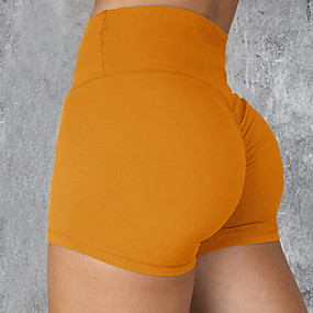 cheap Running & Jogging-Women's High Waist Compression Shorts Running Tight Shorts Athleisure Shorts Bottoms Nylon Fitness Gym Workout Performance Running Training Tummy Control Butt Lift Breathable Sport Solid Colored