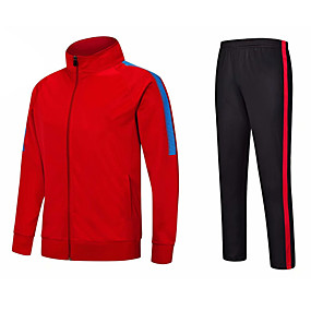cheap Running & Jogging-Men's 2 Piece Full Zip Tracksuit Sweatsuit Jogging Suit Street Casual Winter Long Sleeve Thermal Warm Breathable Soft Fitness Running Jogging Sportswear Jacket Track pants White Red Burgundy Blue
