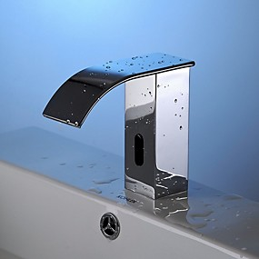 Недорогие Индукционные смесители-Ванная раковина кран - Широко распространенный Электропокрытие Свободно стоящий Одной ручкой одно отверстиеBath Taps