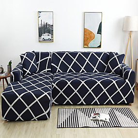 cheap Slipcovers-Geometric Grid Print Dustproof All-powerful Slipcovers Stretch L Shape Sofa Cover Super Soft Fabric Couch Cover with One Free Pillow Case