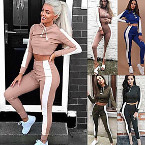 cheap Women's Activewear-Women's 2pcs Yoga Suit Winter Fashion Black Red Army Green Fitness Gym Workout Running High Waist Pants / Trousers Cropped hoodie / Crop hoodie Long Sleeve Sport Activewear Tummy Control Butt Lift