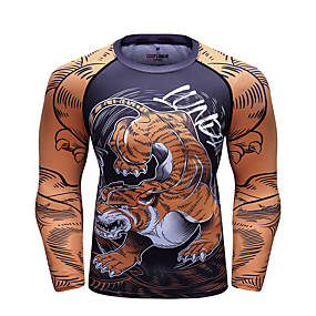 cheap Fitness & Yoga-CODYLUNDIN Men's Long Sleeve Compression Shirt Running Shirt Running Base Layer Patchwork Top Athletic Winter Sun Protection Quick Dry Breathable Running Active Training Jogging Sportswear Dragon