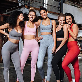 cheap Yoga & Fitness-Women's 2pcs Yoga Suit Cut Out Removable Pad Wireless Dark Grey Black Red Mesh Fitness Gym Workout Running High Waist Cropped Leggings Bra Top Sport Activewear Tummy Control Butt Lift 4 Way Stretch