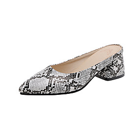 cheap Women's Clogs & Mules-Women's Clogs & Mules Animal Print Chunky Heel Pointed Toe PU Minimalism Spring &  Fall Burgundy / White / Brown / Color Block
