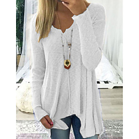cheap Winter Clothing-Women's Casual Solid Colored Long Sleeve Long Pullover Sweater Jumper, Deep V Spring / Fall Black / White / Blushing Pink S / M / L/StayCation